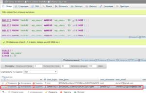 Рис. № 6 Подставной пользователь в вашей базе данных и время.